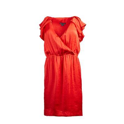 ruffle detail midi dress red